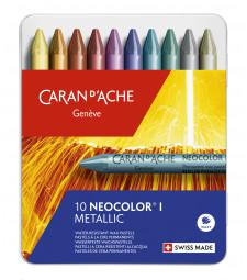 Пастель Воскова Водостійка Caran d'Ache Neocolor® I - 10 кольорів Metallic