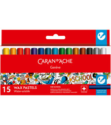 Пастель Воскова Water-soluble Caran d'Ache School Line 15 кольорів
