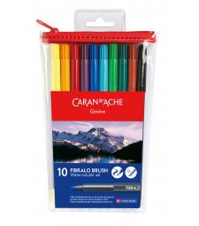 Набір Акварельних Брашпенів Caran d'Ache Fibralo - 10 кольорів
