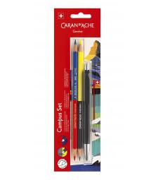 Набір Caran d'Ache Back to School - Ручка 888 Чорна + 2 Олівці Bicolor