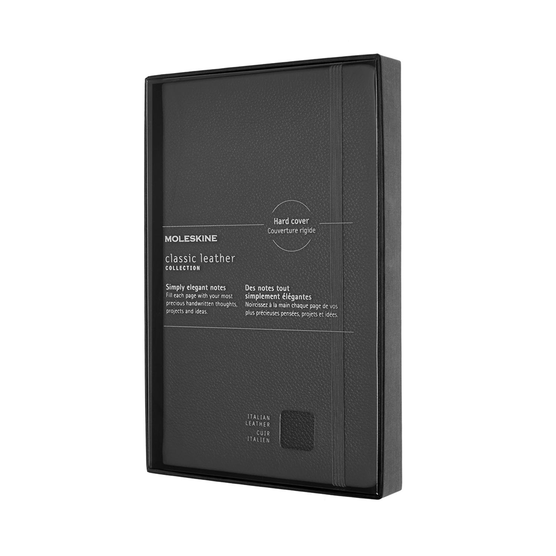 Записник Moleskine Leather середній / Лінійка Чорний + прозорий бокс