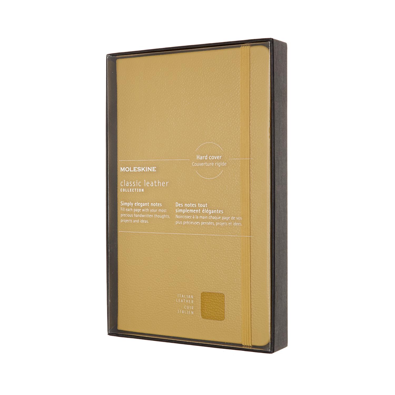 Записник Moleskine Leather середній / Лінійка Бурштин + прозорий бокс