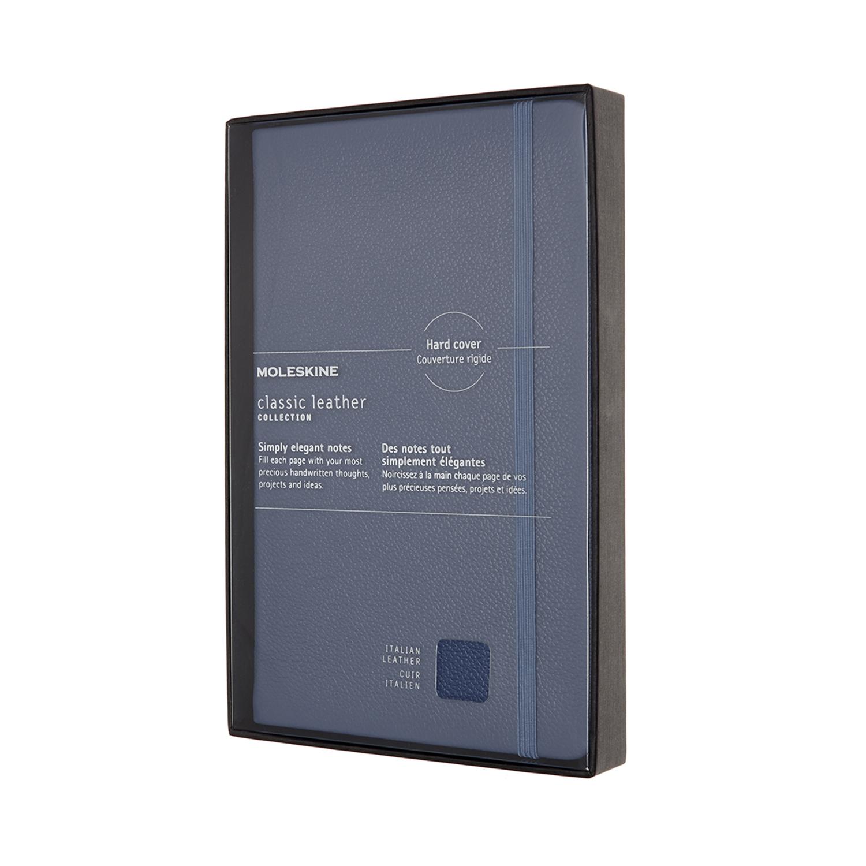 Записник Moleskine Leather середній / Лінійка Синій + прозорий бокс
